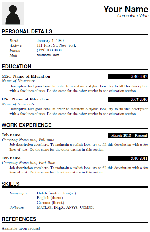 cv template with photo latex