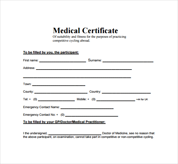 Medical Certificate Template Doc printable receipt template