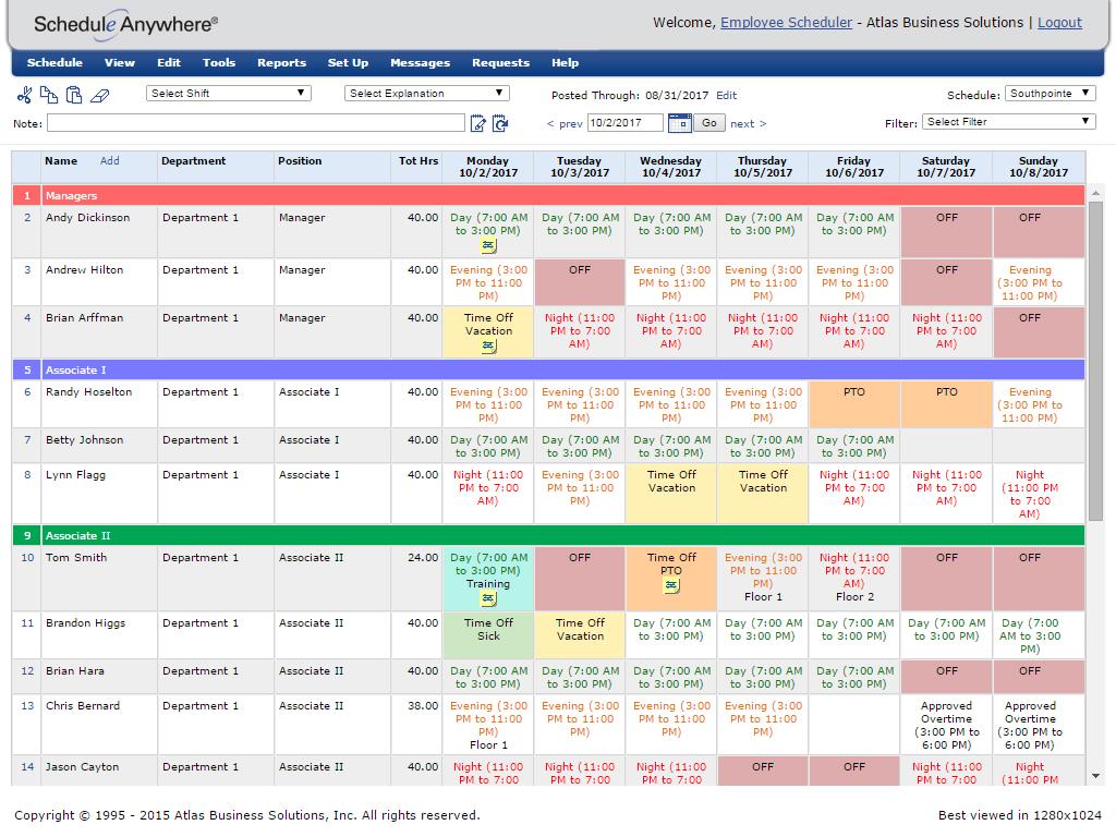 employee scheduler template