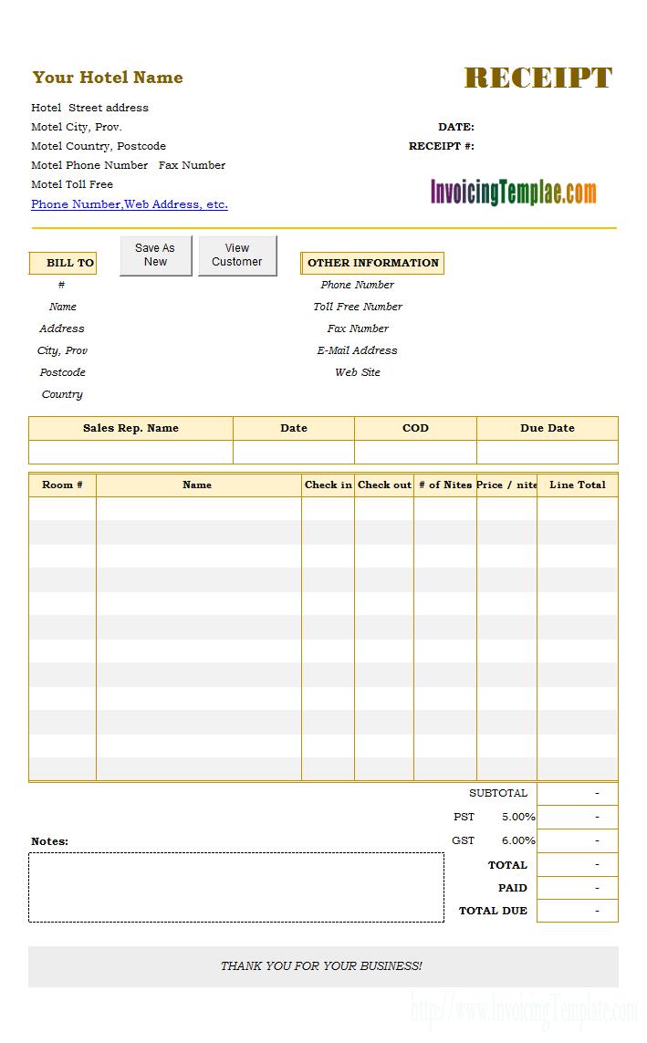 proforma receipt template