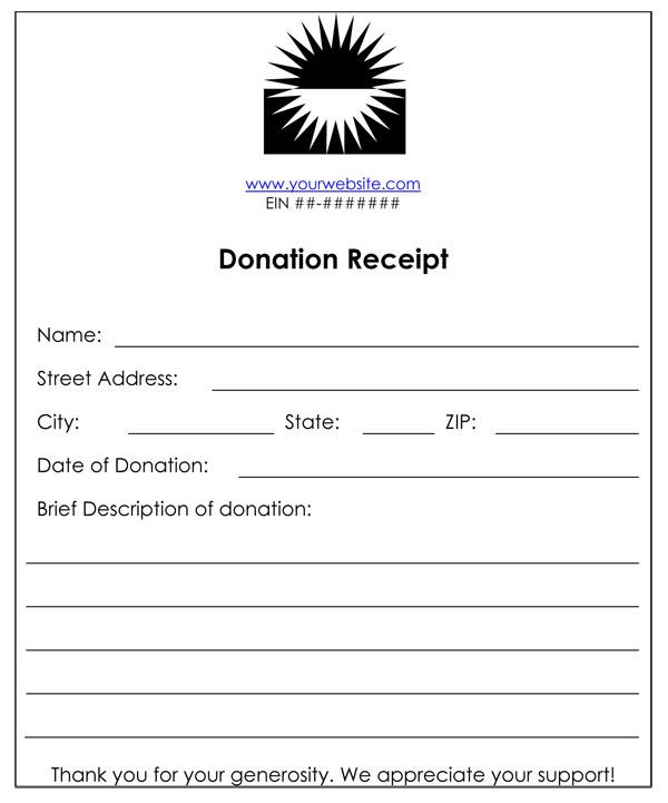 non profit donation receipt