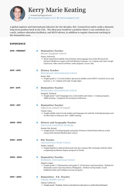 resume for teaching position