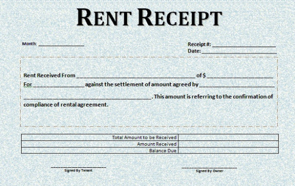 Rent Receipt Template Uk printable receipt template