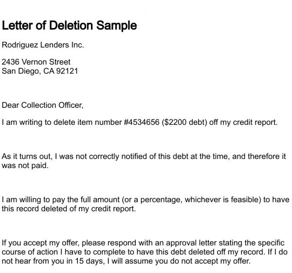 Sample Letter To Credit Bureau To Remove Paid Collection printable
