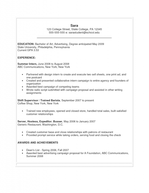 great resume examples for college students - Romeolandinez