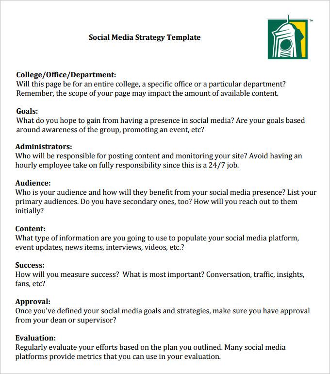 Social Media Strategy Template Pdf printable receipt template