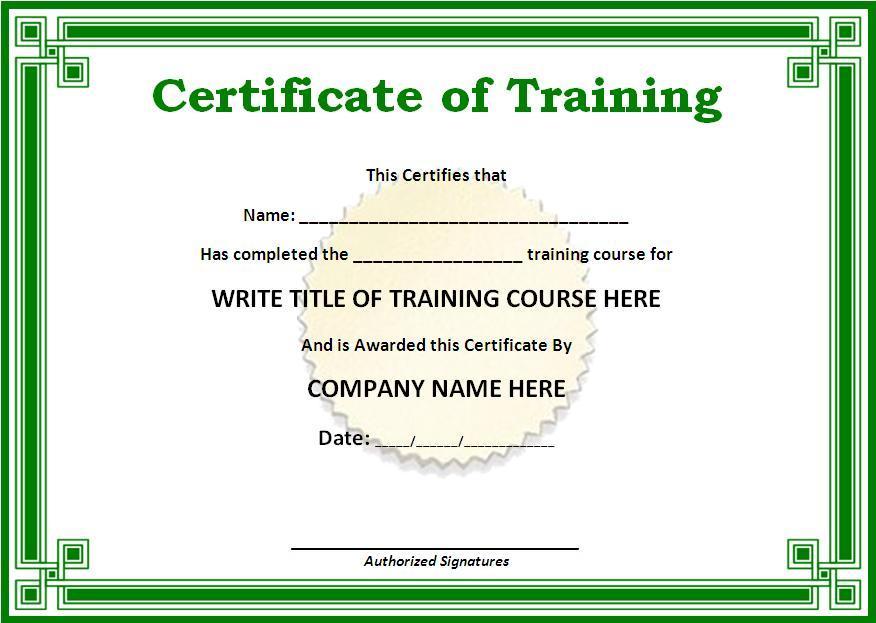 Training Certificate Template Doc printable receipt template