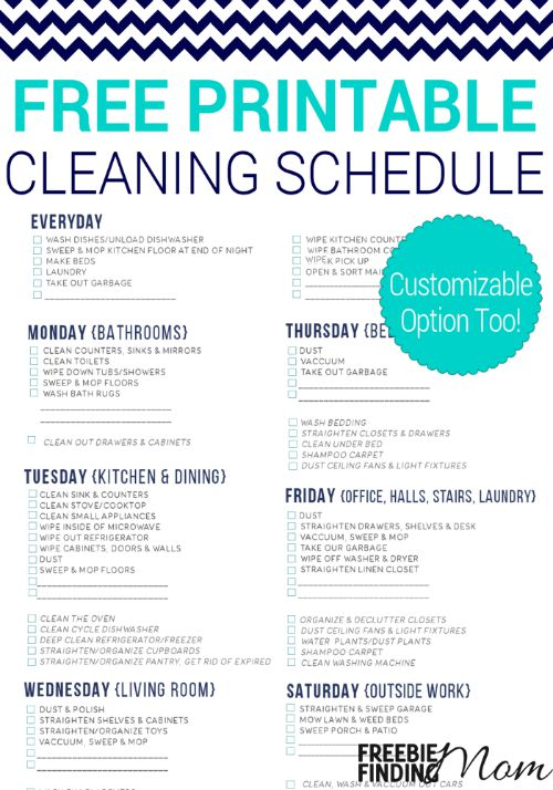 Weekly Cleaning Schedule Pdf printable receipt template