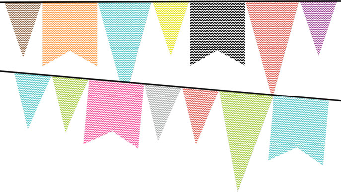 Colorful large pennants with chevron pattern (free printable)