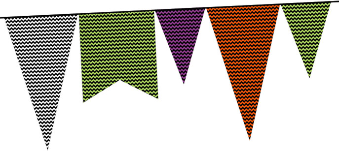 Halloween pennants with chevron pattern (free printable)