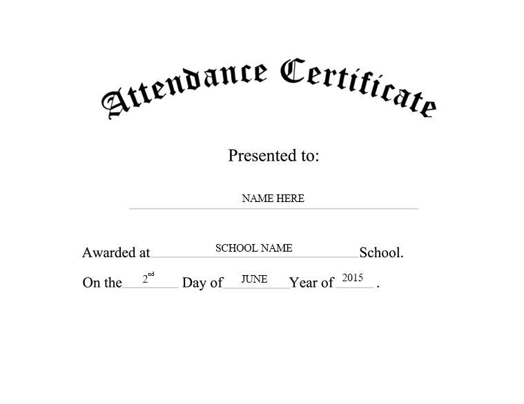 Doc#960720 Free Perfect Attendance Certificate Template - attendance certificate template