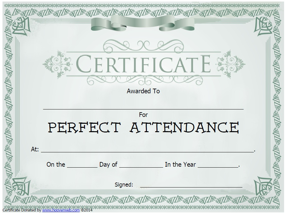 Doc#960720 Free Printable Perfect Attendance Certificate - attendance certificate template