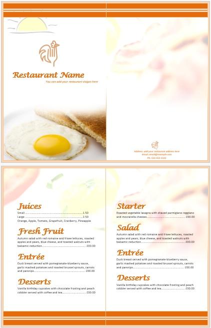 11 Free Sample Breakfast Menu Templates - Printable Samples