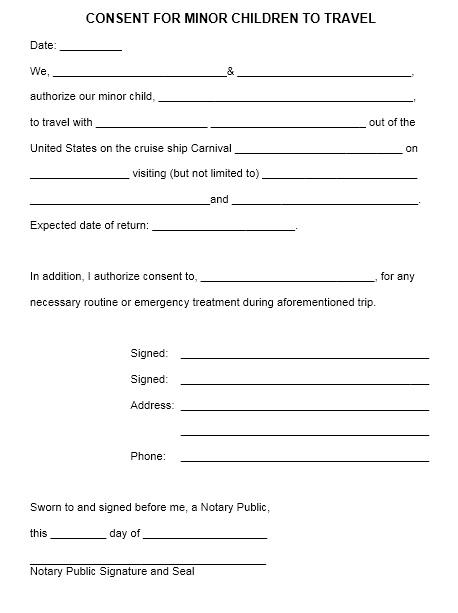 Doc#728943 Free Child Travel Consent Form Template u2013 Consent - travel consent form sample