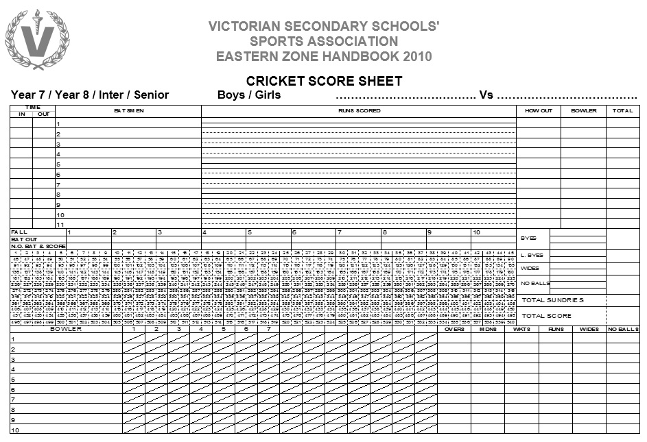 11 Free Sample Cricket Score Sheet Templates - Printable Samples - football score sheet template