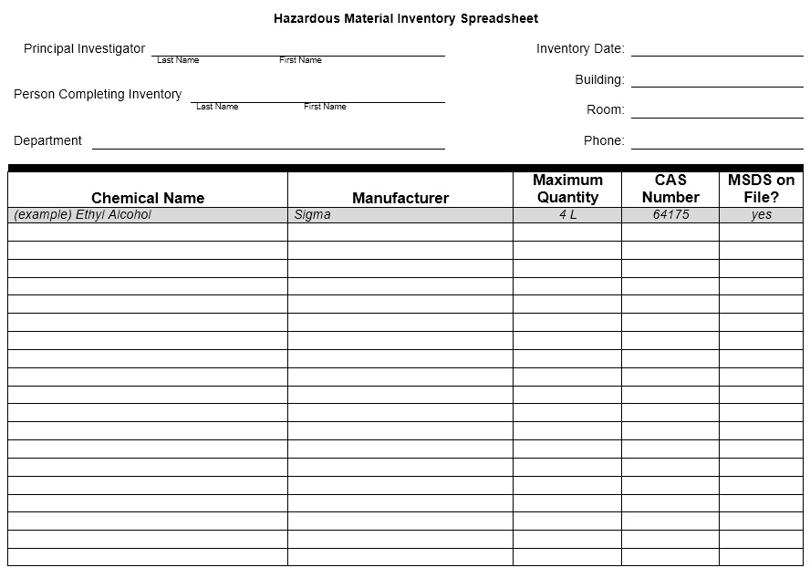 13 Free Sample Chemical Inventory List Templates - Printable Samples