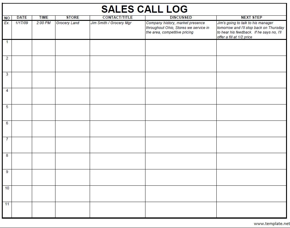 sales log template - Goalgoodwinmetals