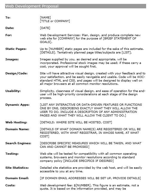 12 Free Sample Website Design Proposal Templates u2013 Printable Samples - estimate proposal template