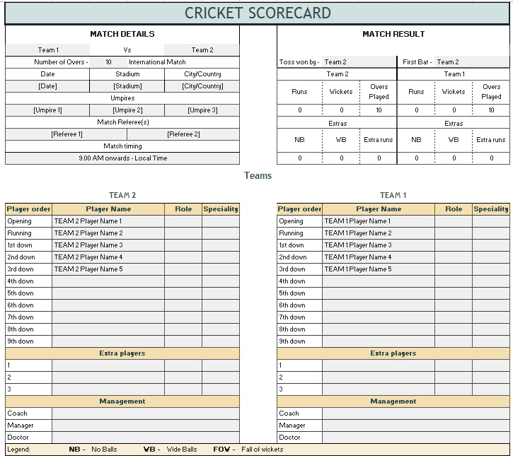 Sample Cricket Score Sheets - gauheo - sample cricket score sheet