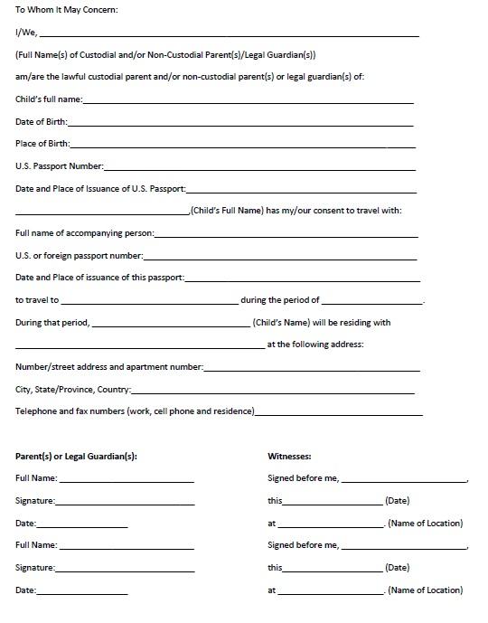 parental consent form for passport templatebillybullock - travel consent form sample