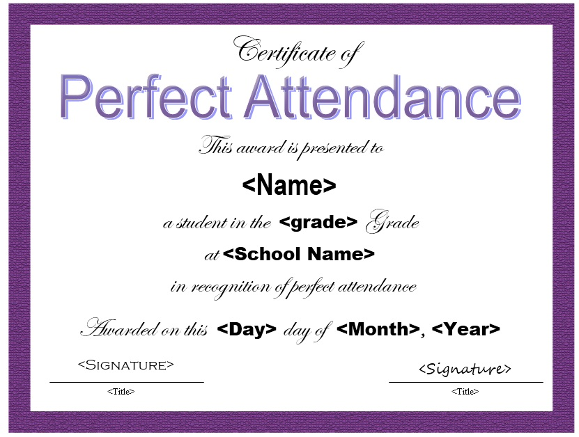 perfect attendance certificate template - 28 images - 13 free sle