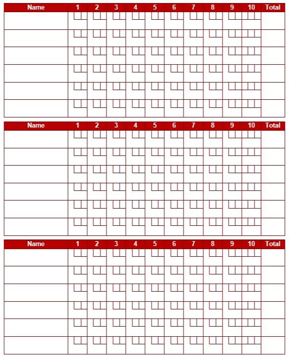 9 Free Sample Bowling Score Sheet Templates - Printable Samples
