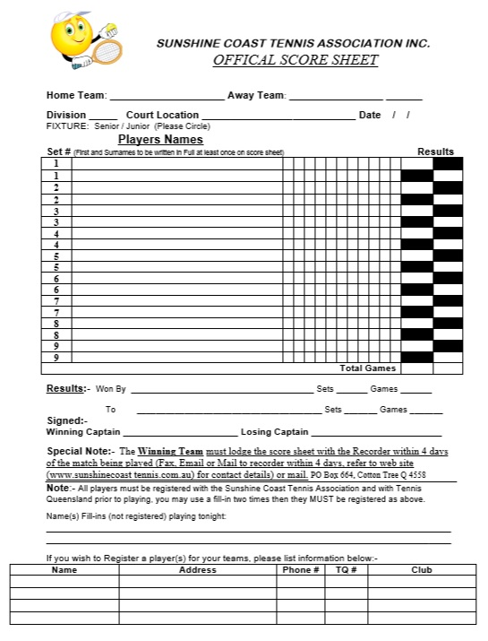 Pageant Score Sheet Template Exltemplates Tennis Score Sheet Tennis