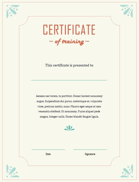 11 Free Sample Training Certificate Templates - Printable Samples - training certificate