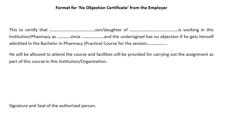No Objection Certificate For Student  10 Free Sample No