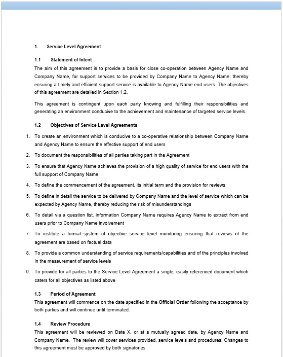 11 Free Sample Professional IT Service Agreement Templates - sample maintenance contract template