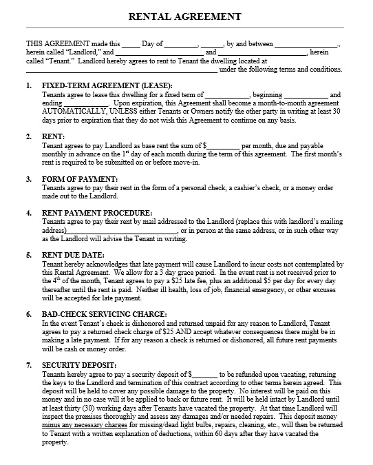 Sample Printable Lease Agreement Example House Rental Agreement - lease agreements sample