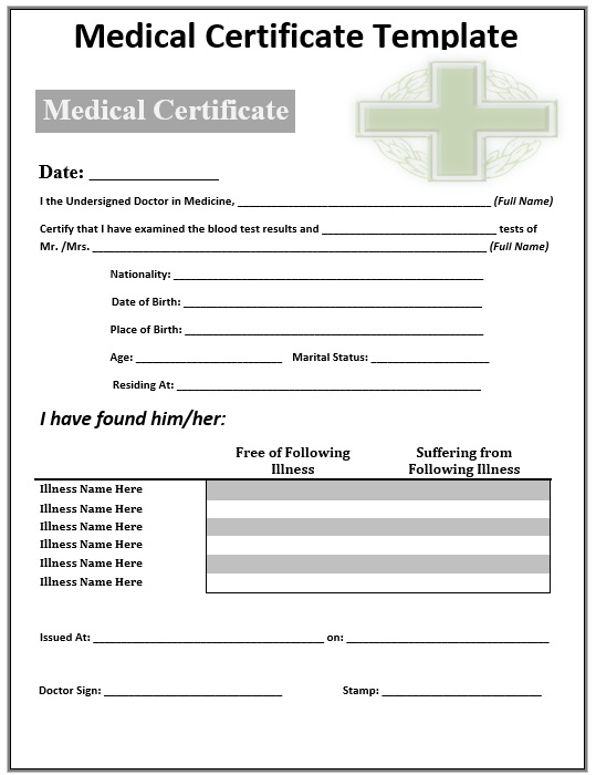8 Free Sample Medical Certificate Templates u2013 Printable Samples - no objection certificate template
