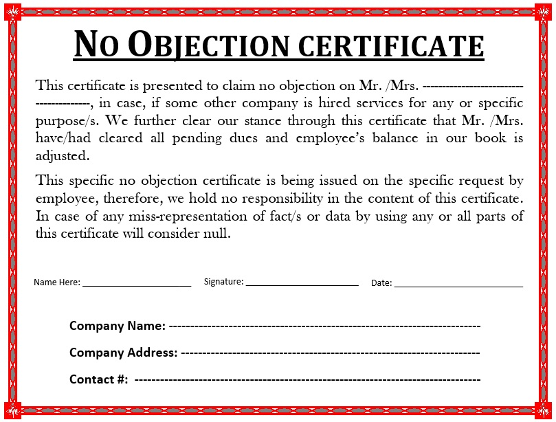 10 Free Sample No Objection Certificate Templates - Printable Samples