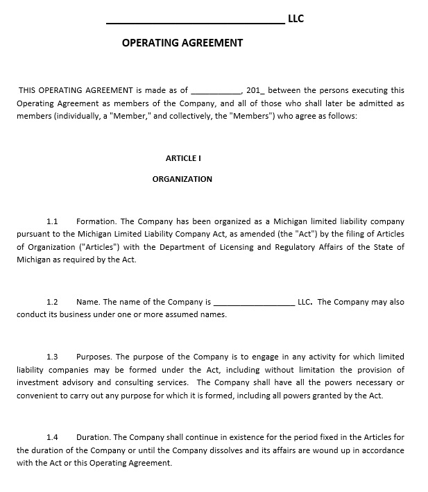 10 Free Sample LLC Agreement Templates u2013 Printable Samples - business operating agreement