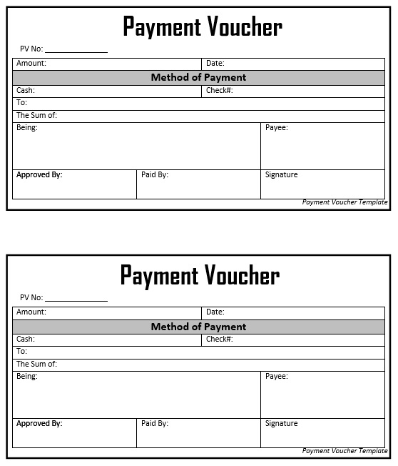 8 Free Sample Cash Voucher Templates - Printable Samples - cash payment template