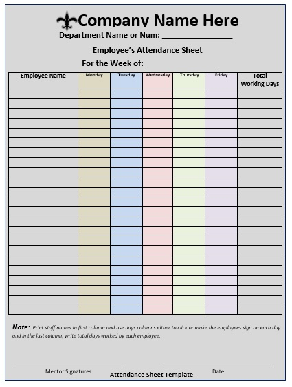 11 Free Sample School Attendance Sheet Templates - Printable Samples