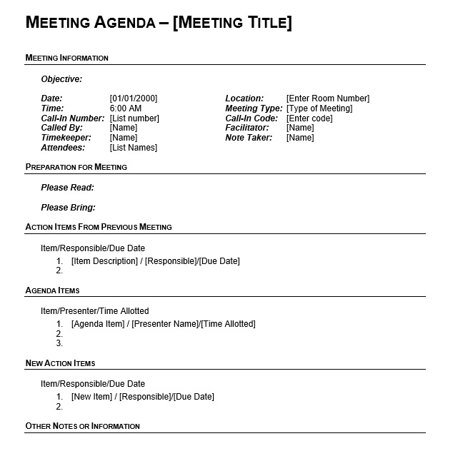 9 Free Sample Basic Meeting Agenda Templates - Printable Samples - attendees list template