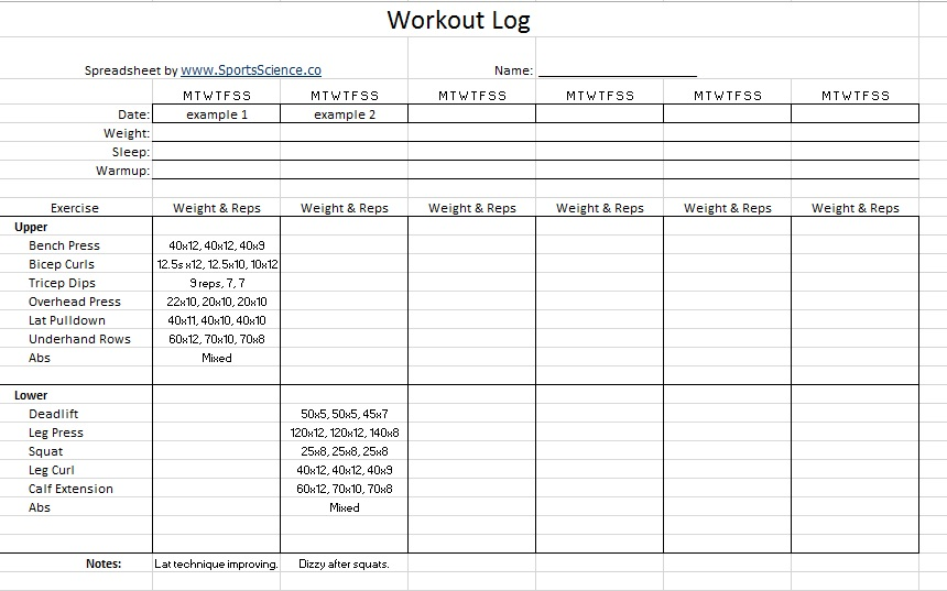11 Free Sample Workout Log Templates - Printable Samples - Weight Training Log Template