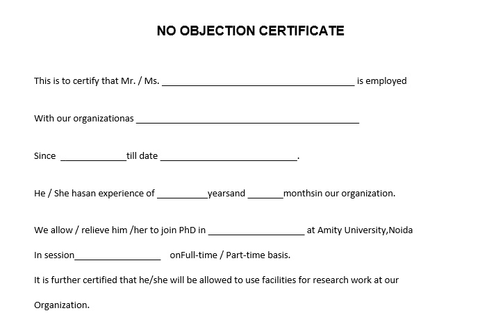 10 Free Sample No Objection Certificate Templates - Printable Samples - no objection certificate template