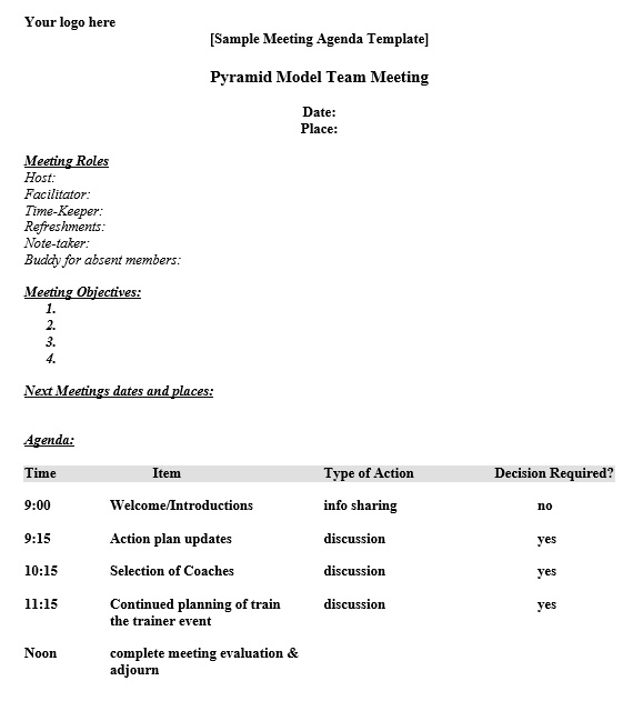 9 Free Sample Formal Meeting Agenda Templates - Printable Samples - format of meeting agenda