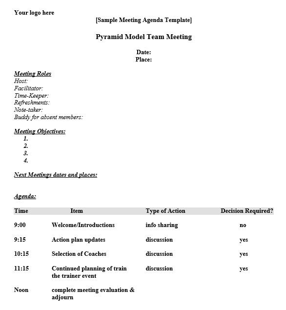 10 Free Sample Informal Agenda Templates For Your Casual Meetings