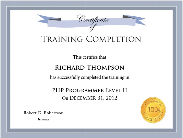 11 Free Sample Training Certificate Templates - Printable Samples