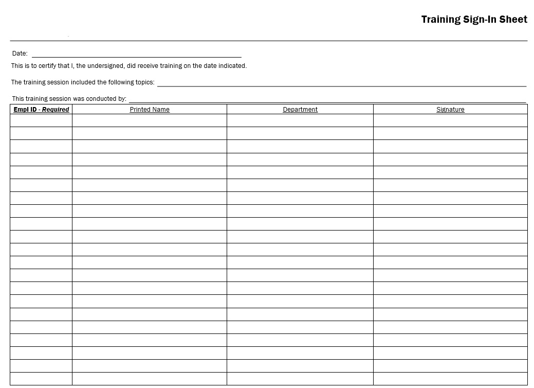 10 Free Sample Army Training Sign In Sheet Templates - Printable Samples - free roster templates