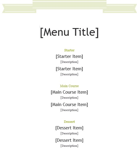 7 Free Sample Office Menu Templates - Printable Samples