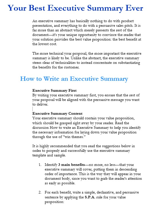 5 Free Sample Executive Summary Template for Customer Support - microsoft word executive summary template
