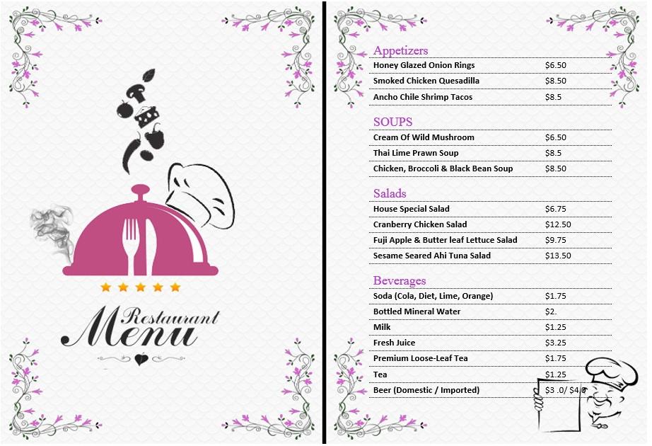 7 Free Sample Office Menu Templates - Printable Samples - microsoft office menu templates