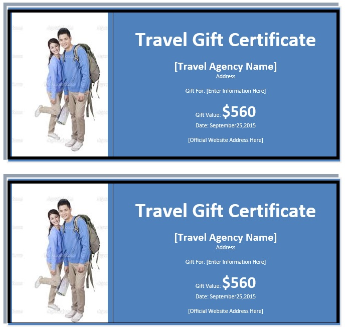 7 Free Sample Travel Gift Certificate Templates - Printable Samples - gift certificate template in word
