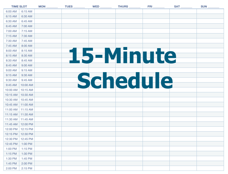 Appointment Schedule Template 15 Minute Increments printable