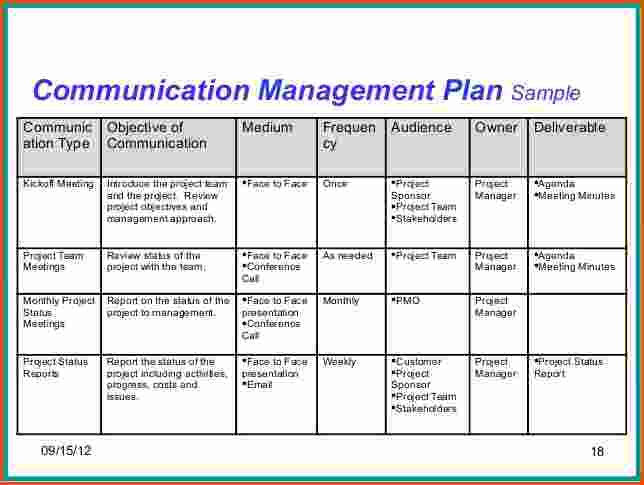 Communication Plan Template Project Management \u2013 printable schedule