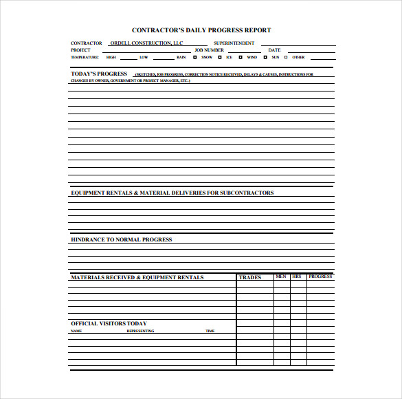 Daily Log Template For Construction printable schedule template